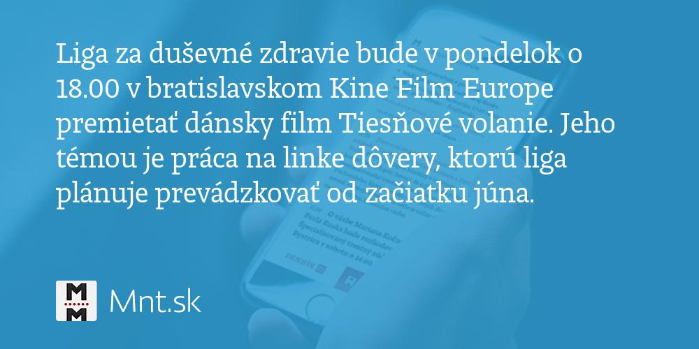 6d591d079 Liga za duševné zdravie bude v pondelok o 18.00 v bratislavskom Kine Film  Europe premietať dánsky film Tiesňové volanie - Denník N
