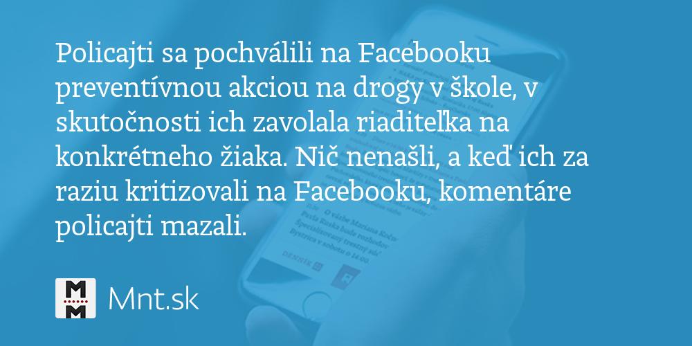 d9db79432 Policajti sa pochválili na Facebooku preventívnou akciou na drogy v… - Denník  N